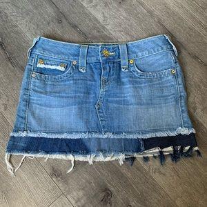 True religion denim mini skirt